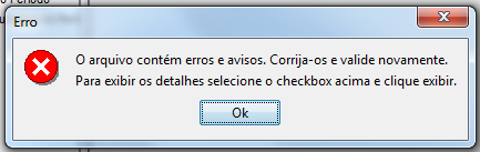Esta primeira fase tem a intenção de gerar os totalizadores do SPED e não  significa que o arquivo gerado contém erros. Será exibido um alerta sobre  erros.